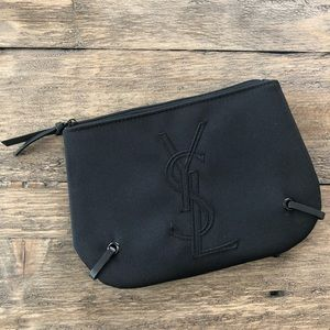 YSL Black Zip Top Fragrance Bag Travel Embroidered